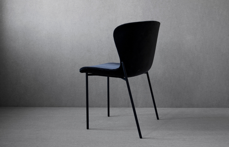 La Pipe Chair Velvet - Black Frame