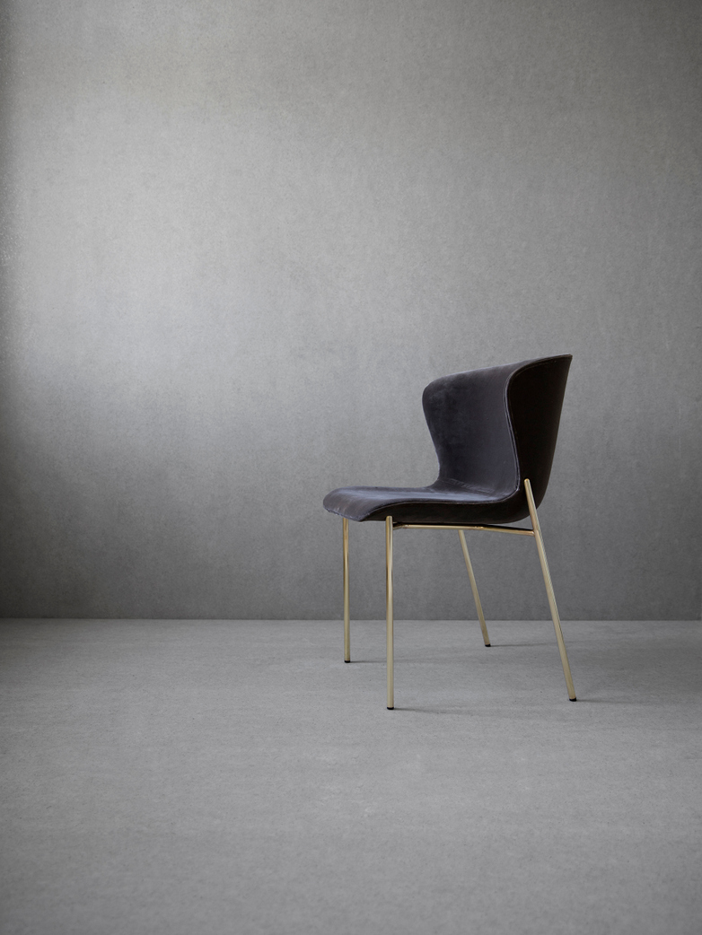 La Pipe Chair Velvet - Brass Frame