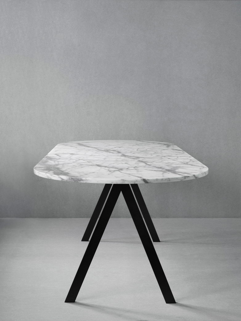 Saw Table White Marble
