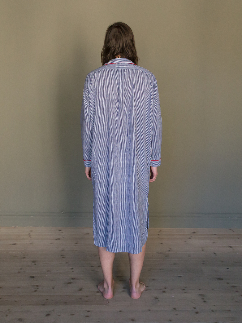 Long Shirt Thin Waves Blue/White