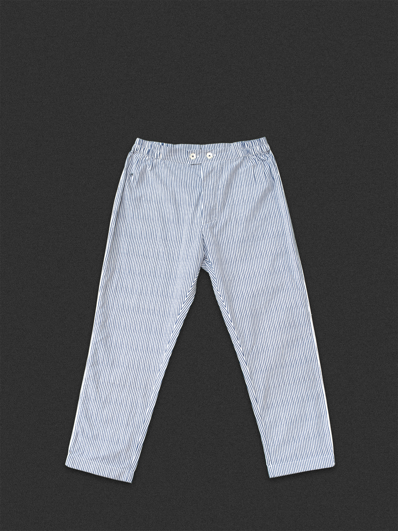 Button Trousers Thin Waves White/Blue
