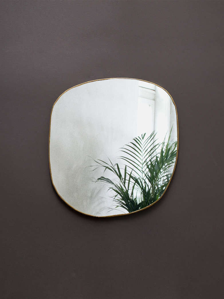 Ame Hand Crimped Brass Mirror 34x36 cm