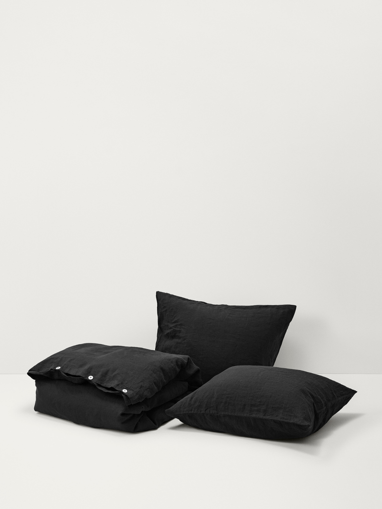 Stone Washed Linen - Jet Black