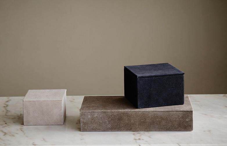 Rectangular Suede Box Grey