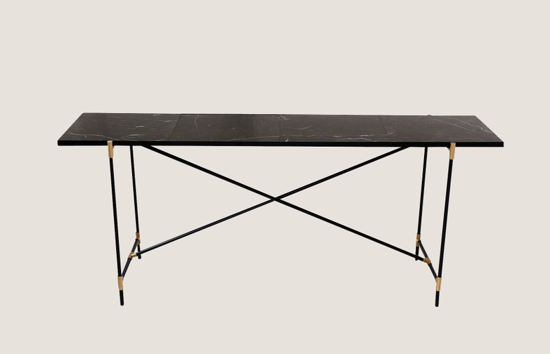 Console Table - Black Marble, Black & Brass Frame