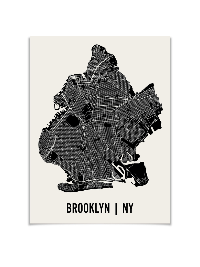 Monochrome Brooklyn Map