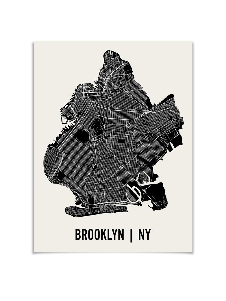 Monochrome Brooklyn Map