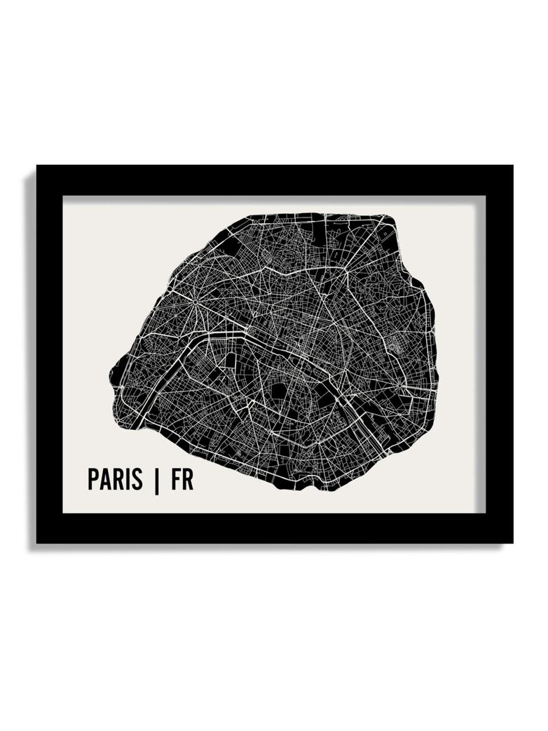 Monochrome Paris Map