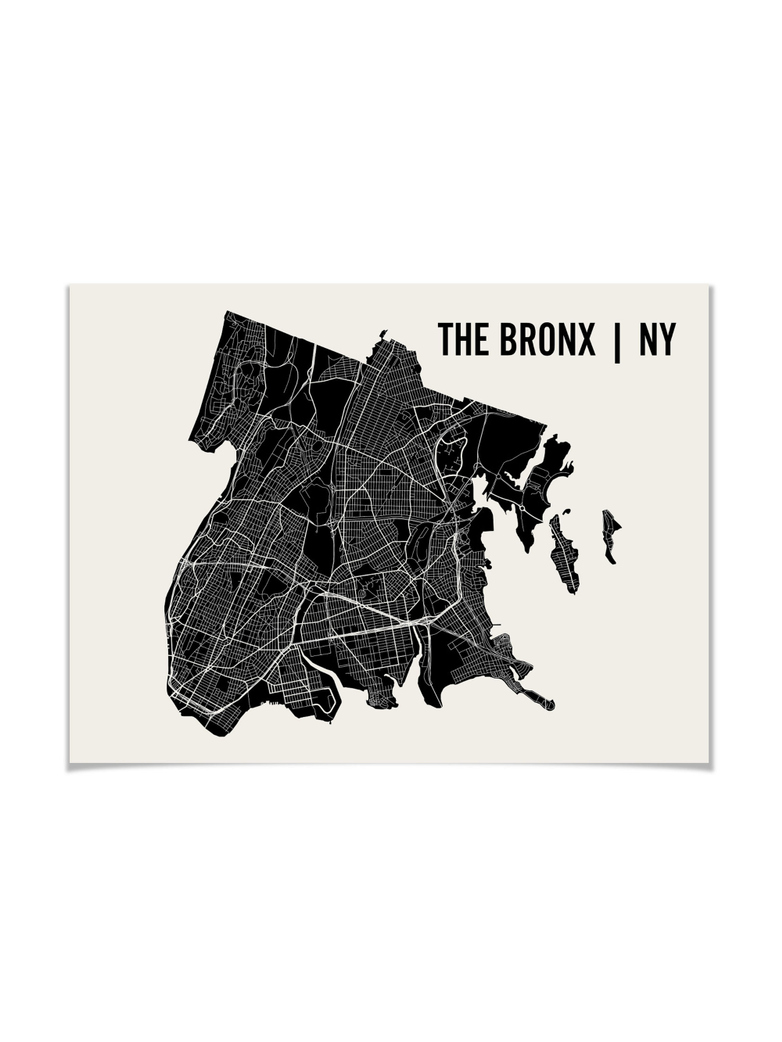 Monochrome The Bronx Map