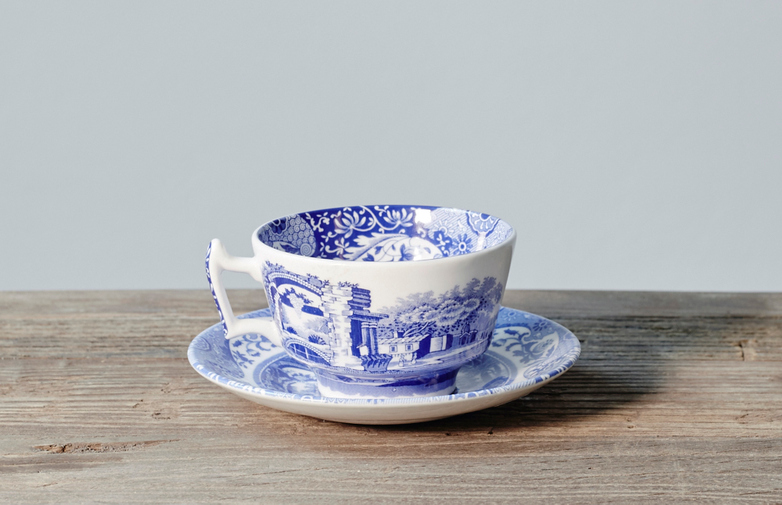 Blue Italian Teacup with Saucer